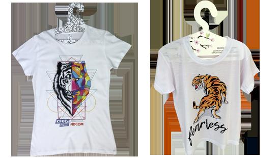 Трансфер върху бели тениски
